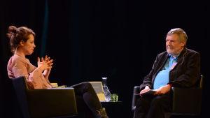 Kirjailijat Sara Stridsberg  ja  Claes Andersson