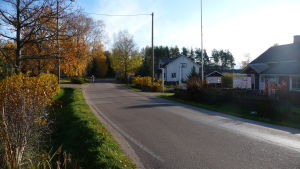 En väg kantad med hus.