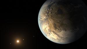 En konstnärs bild av planeten Kepler 186f, den planet som ansågs vara mest lik jorden innan Kepler 438b hittades.