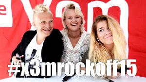 """BIld med Janne, Fredrika och Pernilla med texten """"x3mrockoff15"""