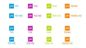 Ylen tv-kanavien värilliset logot