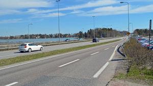 Bussfilen från Hanaholmen, riktning Helsingfors.