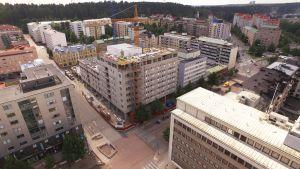 Nuorisosäätiön asuntorakennushankkeen työmaa 27.7.2016, Aleksanterinkatu 5, Lahti, ilmakuva