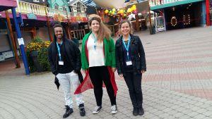 Julius Owusu, Emelie Weski och Sara Corneliussen deltog i en nordisk ungdomskongress på Borgbacken i oktober 2016.