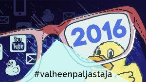 Kuvitusgrafiikka, silmälasit ja vuosiluku 2016.