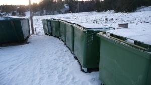 En lång rad med sopkärl väntar i snön på att bli tömda.