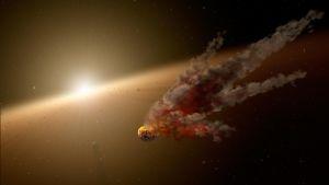 Artistisk föreställning av en kollision mellan en asteroid och en protoplanet.