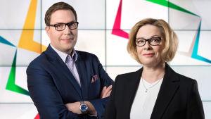 Kuntavaalit 2017 -puheenjohtajatentin juontavat Seija Rautio ja Jan Andersson.