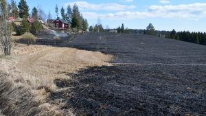 gräsbrand i Gammelgård i Borgå på pohjakkavägen, svartbränd åker en solig vårdag