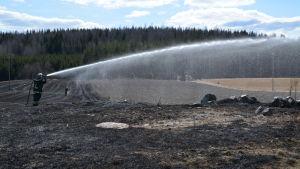 brandman sprutar vatten på åker som brunnit