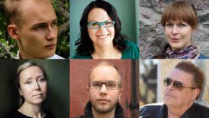 Tanssiva karhu -runopalkinnon ehdokkaat Erkka Filander, Sirpa Kyyrönen, Tiina Lehikoinen, Catharina Gripenberg, Ville Luoma-aho ja Harri Nordell