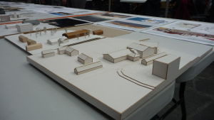 Modell av det nya sjöfartsmuseet i Kristinestad.