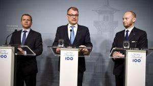 Petteri Orpo, Juha Sipilä och Sampo Terho