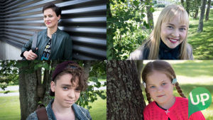 Kuvassa Maija Helminen (Lotta Lehtikari), Kaisla Helminen (Eeva Rajakangas), Pyry Helminen (Toni Nikka) ja Aava Helminen (Valpuri Jokitie)