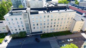 Ett flygfoto av Kvinnokliniken i Helsingfors.