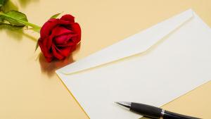 Ett brev med en ros.