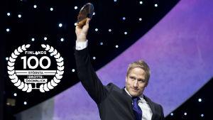 Leo-Pekka Tähti årets idrottare, med logo för Finlands 100 största idrottsögonblick.
