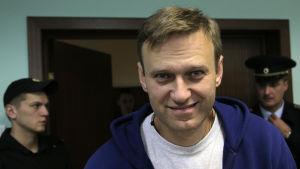 Aleksej Navalnyj under en domstolsförhandling i Moskva den 6 november 2017