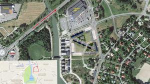 En flygbild över det planerade området