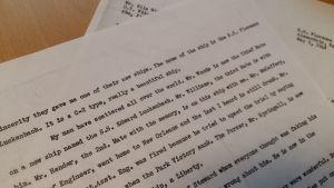 Ett brev från kapten Allen Zepp till Nils Wikeström, skrivet i Alexandria 1948