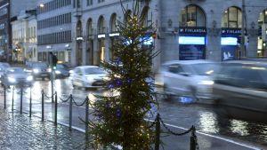Julgran i regn vid Salutorget i Helsingfors.