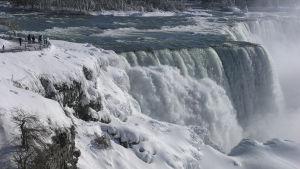 Isbildning i Niagara Falls i USA den 2 januari 2018.