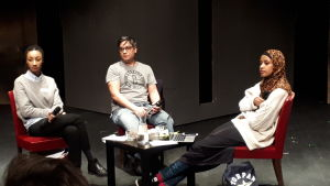 paneldebatt med Maimouna Jagne-Soreau, Jerry Wahlforss och Maryan Abdulkarim.