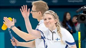 Oona Kauste och Tomi Rantamäki, OS 2018.