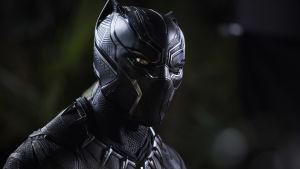 Närbild på Black Panther i sin svarta panterdräkt.