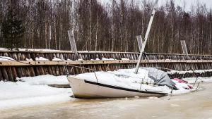 Segelbåt i is