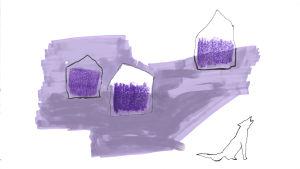 Illustration av ylande varg vid lador