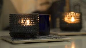 Hygge tunnelmaa, kynttilöitä.