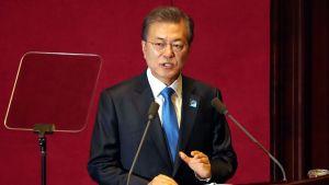 Sydkoreas president Moon Jae-in i Seoul den 1 november 2017