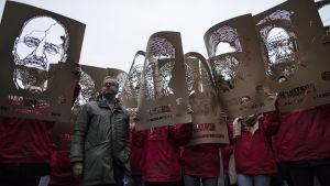 Reportrar utan gränser demonstrerade nyligen i Paris i protest mot press- och yttrandefriheten i Turkiet