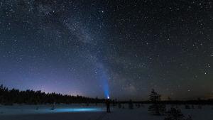 Hiihtäjä ihailee tähtitaivasta.