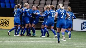 Finlands spelare firar mål mot Israel i VM-kvalmatch 2017.