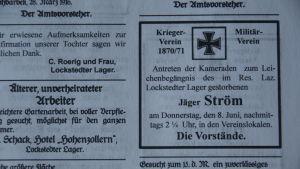 Dödsannonsen för jägaren Ström ur Lockstedter Lager Courier, 1916