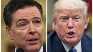 James Comey och Donald Trump i samma bild. Båda tv-sminkade, med munnen öppen.