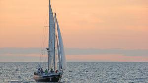 Bild på en segelbåt i solnedgången.