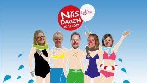 Illustration till Näsdagen, fem programledares ansikten inklistrade på en illustration.