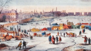 Målning föreställande en frostmarknad på den frusna Themsen.