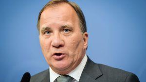 Sveriges statsminister Stefan Löfven höll presskonferens om IT-skandalen den 24 juli 2017.