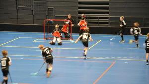 Pojkar tränar innebandy i Kuppis bollhall i Åbo.