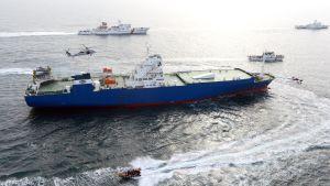 Den sydkoreanska flottan övar här hur man kan borda nordkoreanska fartyg som misstänks för brott mot FN-sanktioner