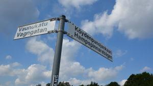Skylt i korsningen Vagngatan-Hampspinnarebågen.