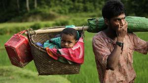 De flesta flyktingar som anländer till Bangladesh har vandrat i dagar genom djungel och berg för att nå gränsen