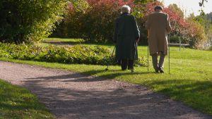 Ett äldre par på promenad en en park.