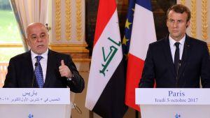 Haider al-Abadi och Emmanuel Macron