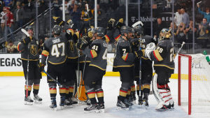 Vegas Golden Knights firar seger tillsammans,