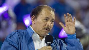 Nicaraguas president Daniel Ortega talade vid invigningen av en ny baseballarena i huvudstaden Managua 19.10.2017.